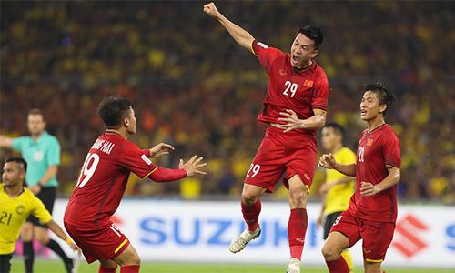 Khoảng khắc ăn mừng khi tuyển Việt Nam ghi bàn