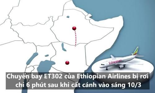 Hành trình của máy bay Ethiopia trước khi lao xuống đất