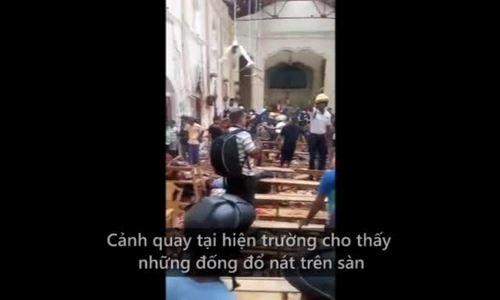 Đống đổ nát bên trong nhà thờ Sri Lanka sau vụ đánh bom
