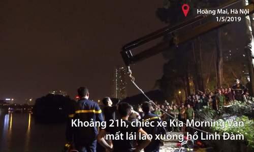 Kia Morning mất lái lao xuống hồ Linh Đàm