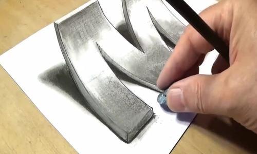 Cách vẽ chữ M dạng 3D nổi trên mặt giấy