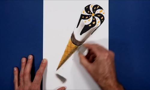 Cách vẽ kem ốc quế 3D lơ lửng trên mặt giấy