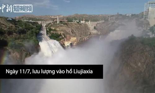 Cảnh tượng xả lũ hồ chứa nước sông Hoàng Hà