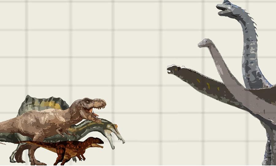 So sánh kích thước khủng long ăn thịt với khủng long ăn cỏ