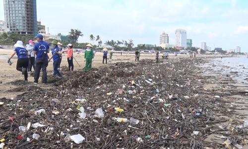 Hàng chục tấn rác dạt vào bờ biển Vũng Tàu