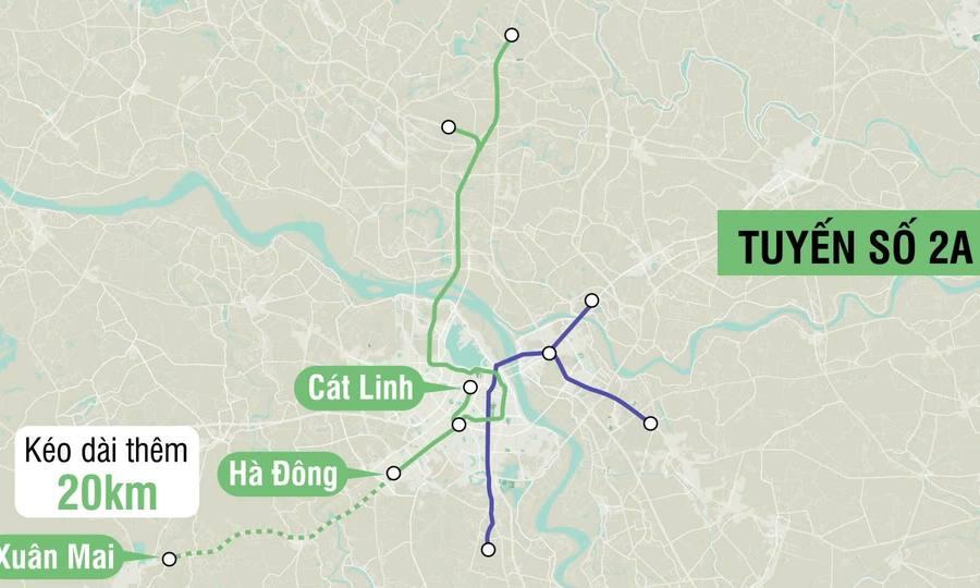 Đường sắt đô thị Hà Nội kéo dài 59km