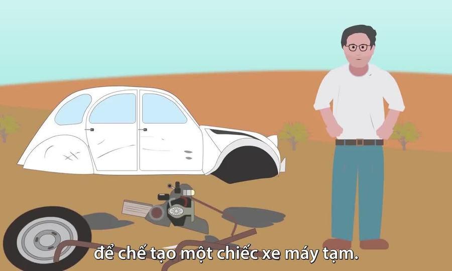 Thợ điện chế ôtô thành xe máy để thoát khỏi sa mạc